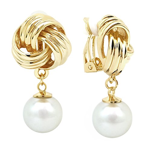 Pearl Knot Earrings - Dangle Clip On Earrings Love Knot Simulated Pearl Gold Plated Women Fashion