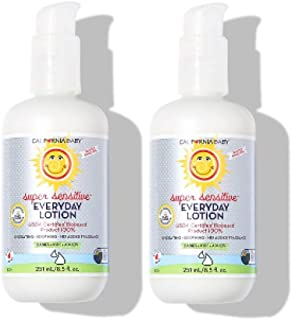 product image for California Baby Super Sensitive Everyday Face and Body Lotion (8.5 oz.) Moisturizer for Dry, Sensitive Skin | Post Bath and Diaper Changing | Non-Greasy, Fast-Absorbing Formula | Fragrance Free | 2PK
