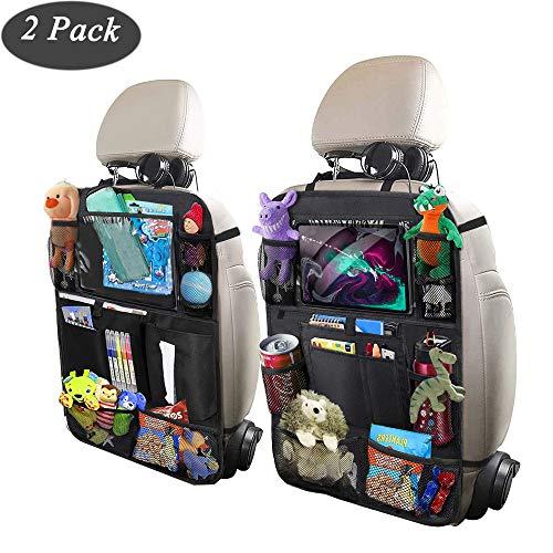 Backseat Car Organizer for Kids, ODragrgon Car Organizer Kick Mats Back Seat Protectors with Tablet Holder + Storage Pockets for Toys Book Drinks Tissue Umbrella Toddler Travel Accessories(2 Pack)