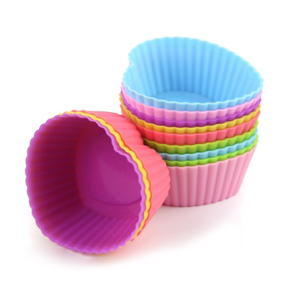 S7 SEVEN Muffin Cases, 12 pcs Silicone Baking Cases Muffin Moulds Cupcake Cups for Muffins Brownies Cupcakes Cakes Ice Creams Puddings, Random colors (Rose)