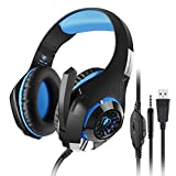 Aiposen headset 3.5mm Gaming Headset LED Light Over-Ear Gaming with Volume Control Microphone for PS4 Laptop, Tablet, PSP, Xbox, Mobile Phones(Black+Blue) Review