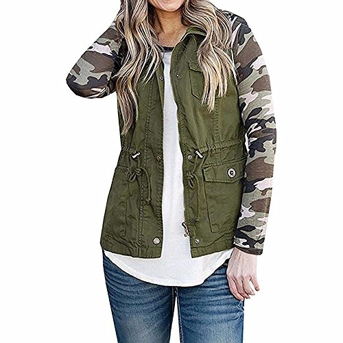 UONQD Women Jacket Lightweight Sleeveless Stretchy Drawstring Vest Zipper Coat(Medium,Army Green)