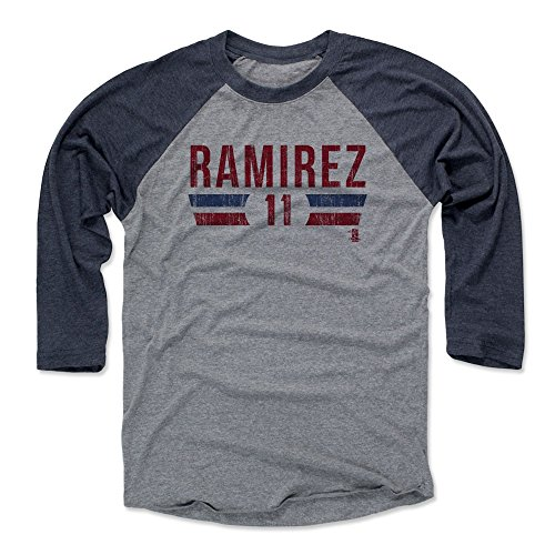 500 LEVEL Jose Ramirez Baseball Tee Shirt Large Navy/Heather Gray - Cleveland Baseball Raglan Shirt - Jose Ramirez Font (Ramirez Merchandise)