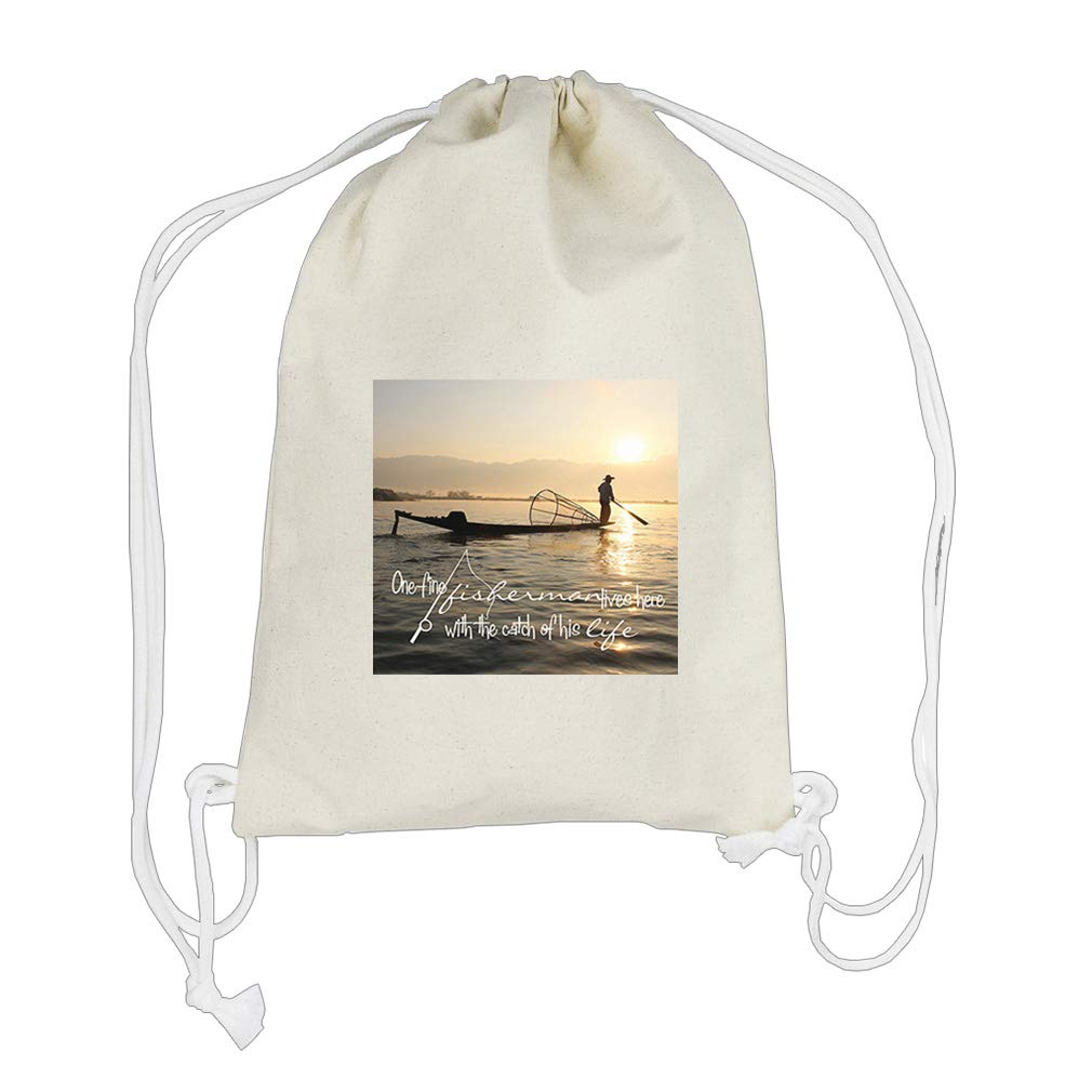 One Fine Fisherman The Need Of His Life Cotton Canvas Backpack Drawstring Bag