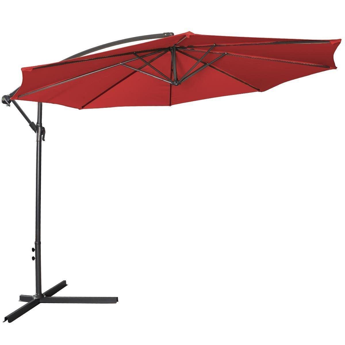 10 Hanging Umbrella Patio Sun Shade Offset Outdoor Market W Corss Base Burgundy