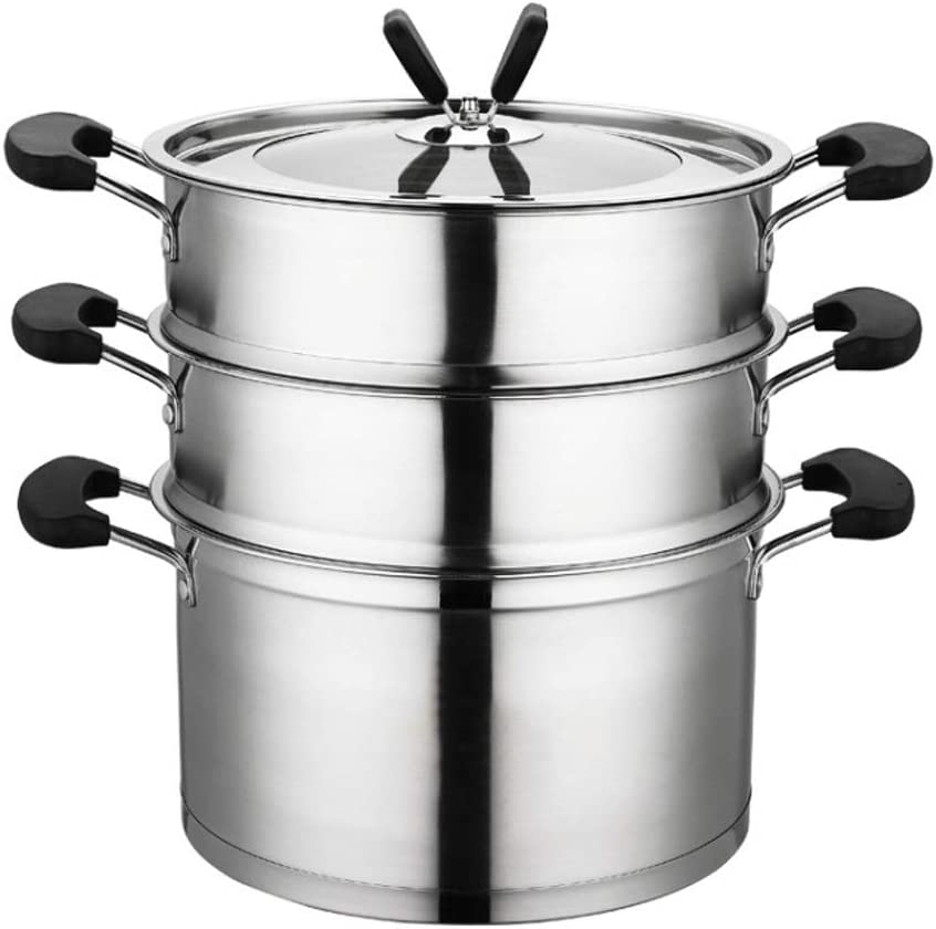Steamer Stainless Food Steamer Pan Stockpot with Lid, Steaming and cooking to save energy Compatible for Induction, Gas, Electric & Stovetops - Dishwasher Safe