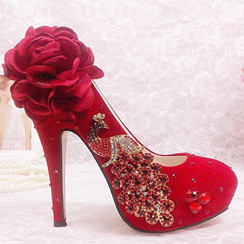 Rhinestone Suede Flor Phoenix rojo altos novia shoes JINGXINSTORE Peacock Tacones wedding Rojo Tg86nW6