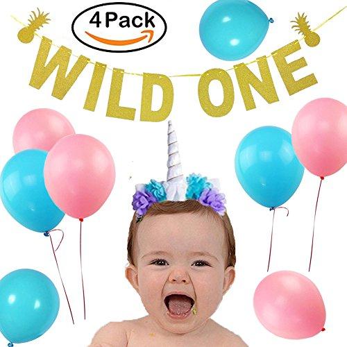 WILD ONE Birthday Decorations Sparkle Gold Banner Shiny Unicorn Headband 24pcs Latex Balloons Pink and Blue - Princess Ponytail Tutu