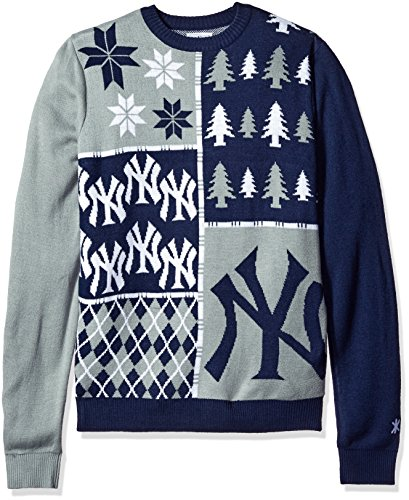 KLEW MLB New York Yankees Busy Block Ugly Sweater, Medium, Blue