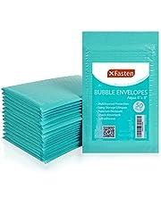 XFasten Bubble Mailer Padded Envelopes, Aqua (50-Pack)