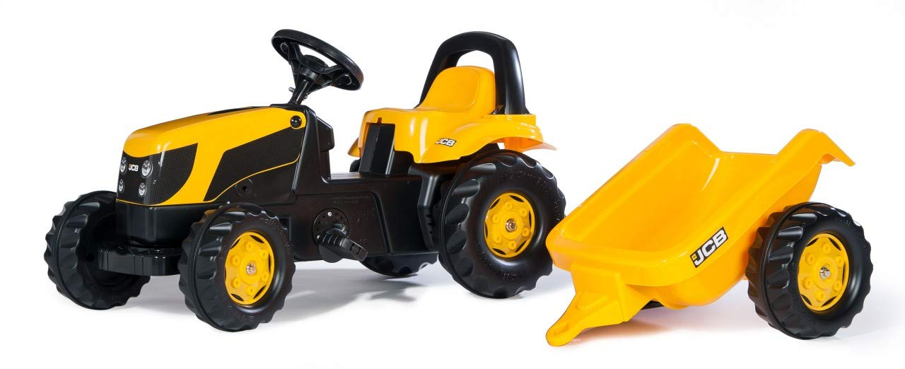 rolly toys JCB Pedal Farm Tractor with Detachable Trailer, Youth Ages 2.5+