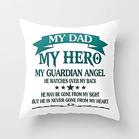 My Dad My Hero Canvas Quotes Throw Pillow Covers 18 X 18 Accent