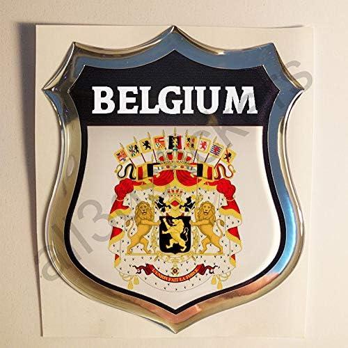 All3DStickers Autocollant Belgique Blason Embl/ème Adh/ésif Belgique Armoiries 3D Drapeau R/ésine Voiture Moto