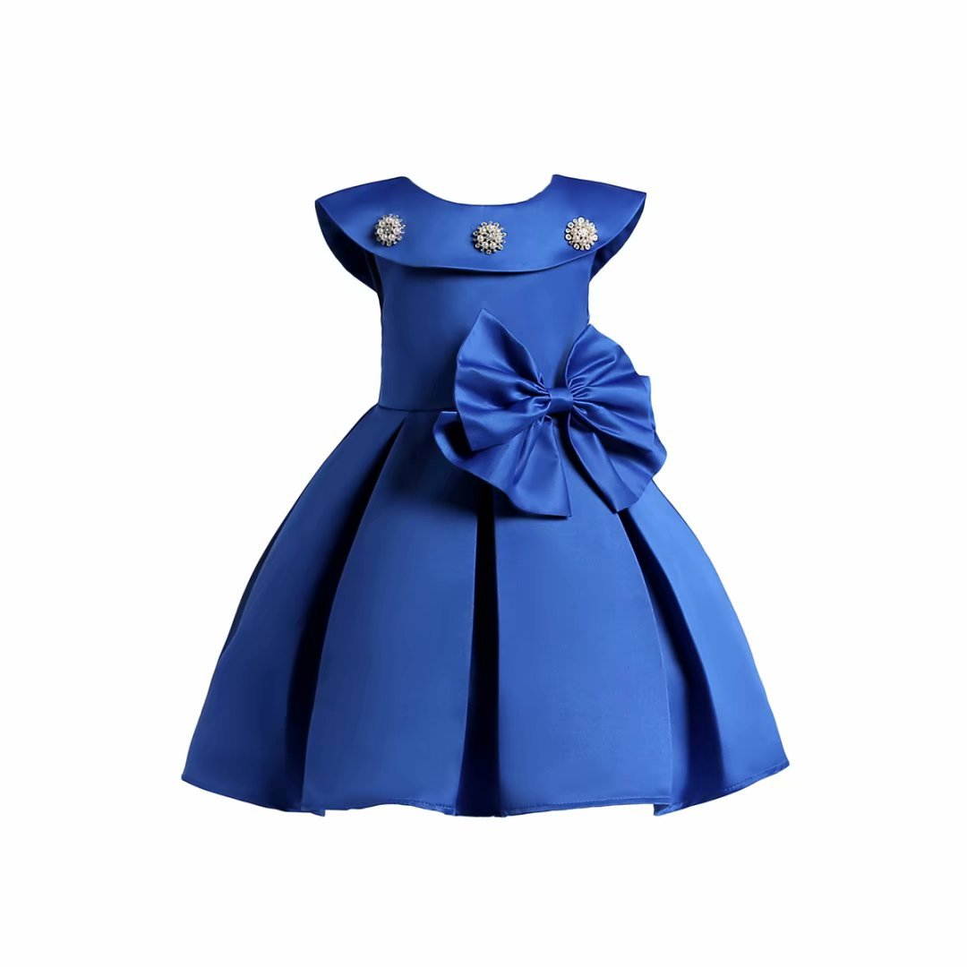 AYOMIS Litter Big Girl Flower Dress Princess Bow Party Wedding Tutu Gowns(Blue,7-8Y) by AYOMIS
