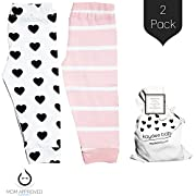 Kaydee Baby Leggings Variety of Options - Set of 2 Gift Set (Ages 0-24 Months) (0-3 Months, Hearts & Stripes)