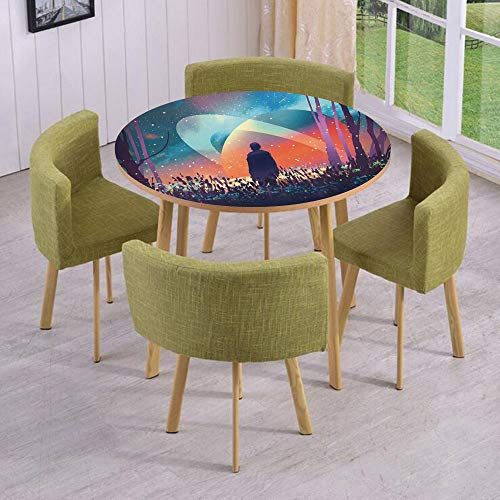 Round Table/Wall/Floor Decal Strikers/Removable/Man Alone Under Vibrant Reflections of Galaxy Planets Space Cosmos Art/for Living Room/Kitchens/Office Decoration (Celestial Screen Fireplace)