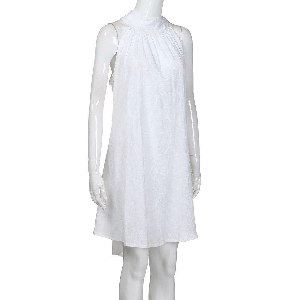 Celiy Womens Holiday Irregular Dress Ladies Summer Beach Sleeveless Party Dress