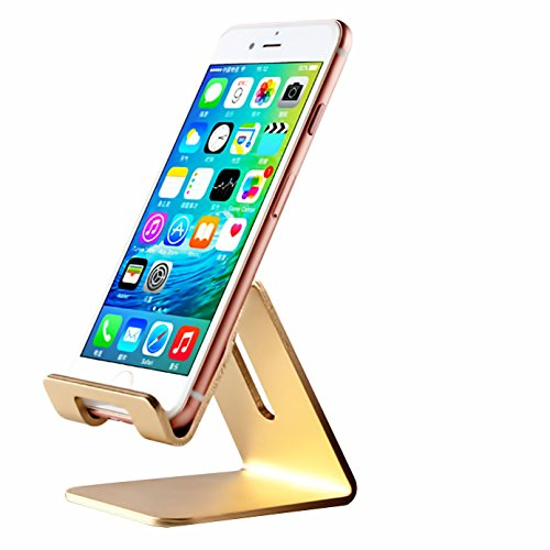 iBarbe Cell Phone Stand, Aluminum Holder,Android Smartphone, Mobile Phone for iPhone X,iPhone 8 6S,Samsung Mobile Phone, iPhone 7 Plus 5S 6 SE 5C,Galaxy S9 S7 Edge S8 etc. Charging and stand - Gold