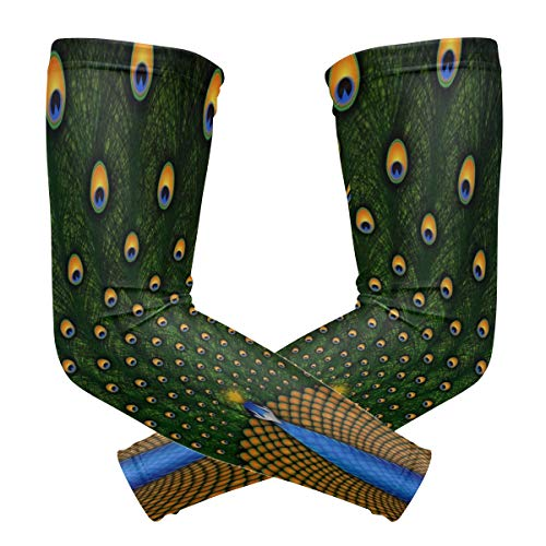 Arm Sleeves Peacocks Birds Feathers Colors Pattern Mens Sun UV Protection Sleeves Arm Warmers Cool Long Set Covers ()
