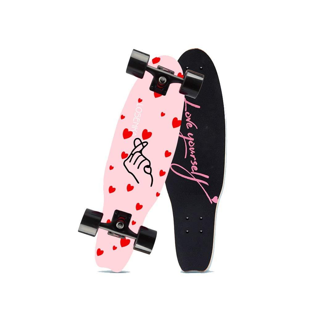 HXGL-Skateboards Small Fish Plate Brush Street Professional Skateboard Board Travel Youth Children Adult Boys and Girls Big Fish Board - Than Heart (Size : L)