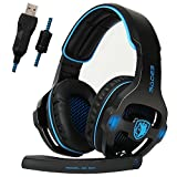 Image of SADES SA903 7.1 Channel Surround Stereo Noise Canceling LED Light USB Wired Over Ear PC Gaming Headset with Mic - Blue/Black