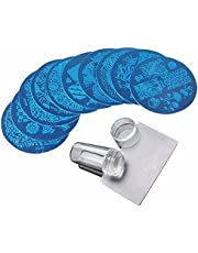 Feixing 10 Stks Stempelen Plaat + Clear Siliconen Stamper + Schraper Nail Art Afbeelding Stamp Tool Manicure Template