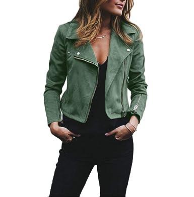 e6ec1a7ee225 YOUJIAA Ladies Suedette Biker Jacket Short Soft Zip up Faux Suede Moto  Jackets (Army Green