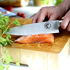 Chef Knife - Ultra Sharp, Lightweight, Ergonomic Chef's Knives - Your Go-To Knife in Kitchen for Cutting and Chopping Meat, Fish, Sushi, Fruit, Vegetables, All Food - Well Balanced, 8 Inch, Chefs Gift