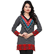 Womens India Tunic Top Kurti Printed Blouse Indian Clothing