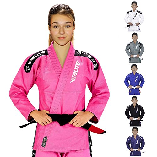 Elite Sports IBJJF Ultra Light BJJ Brazilian Jiu Jitsu Gi for Kids with Preshrunk Fabric and Free Belt, C2, Pink