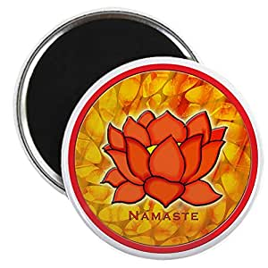 "CafePress - NAMASTE LOTUS FLOWER Magnet - 2.25"" Round Magnet, Refrigerator Magnet, Button Magnet Style"