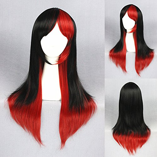 MRealGal Ombre Long Straight Synthetic Wig, Heat Resistant Fiber Cosplay Costume Hair for Black White Women 26'' 65CM (Black Mixed Red)