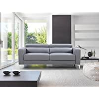 Ultra Modern 73 inch Linen Fabric Upholstered Living Room Sofa with Adjustable Headrests (Light Grey)
