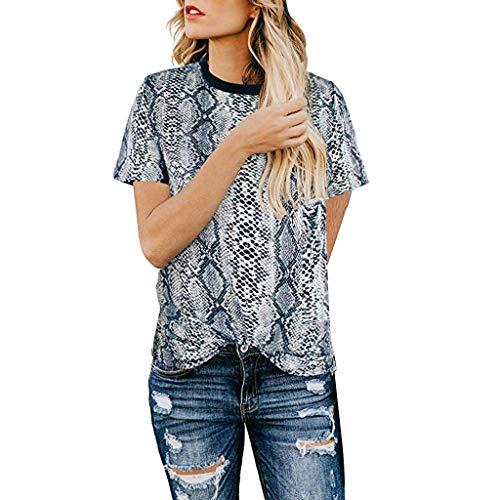 XVSSAA Women's Casual Cute Shirts Leopard Print Tops Basic Short Sleeve Round Neck Soft Blouse Gray