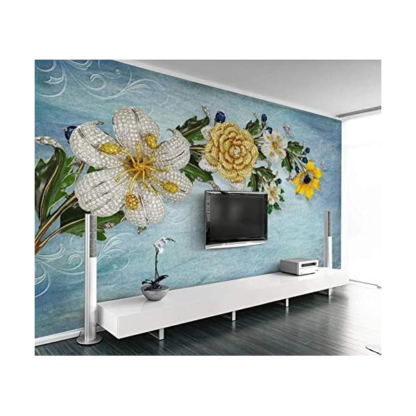 LIWALLPAPER-Carta-Da-Parati-3D-Fotomurali-Farfalla-Foglia-Verde-Blu-Fiore-Camera-da-Letto-Decorazione-da-Muro-XXL-Poster-Design-Carta-per-pareti-200cmx140cm