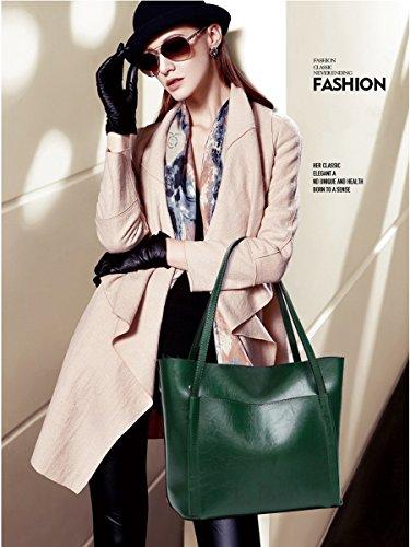 Mujer Cuadrado Verde Tote Bolsillo Borgoña para Cubo Coolives Grande Bolso Uq0B5