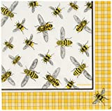 Paperproducts Design 7762 PPD Paper Beverage Napkin, 5 by 5-Inch, Mary Lake Thompson Honey Bees