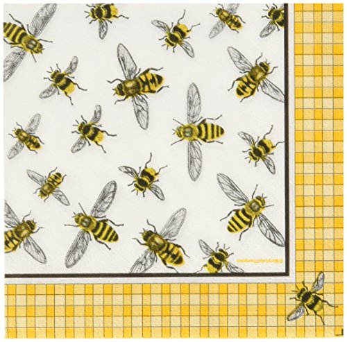 Paperproducts Design 7762 PPD Paper Beverage Napkin, 5 by 5-Inch, Mary Lake Thompson Honey Bees by Paperproducts Design