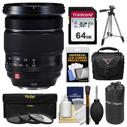 Fujifilm 16-55mm f/2.8 XF R LM WR Zoom Lens with 64GB Card + Case + Pouch + Tripod + 3 Filters Kit for X-A2, X-E2, X-E2s, X-M1, X-T1, X-T10, X-Pro2 Cameras