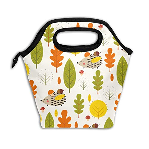 Autumn Forest Hedgehog Decorative Leaves Leakproof Reusable Insulated Cooler Lunch Bag - Office Work Picnic Hiking Beach Lunch Box Organizer for Women,Men
