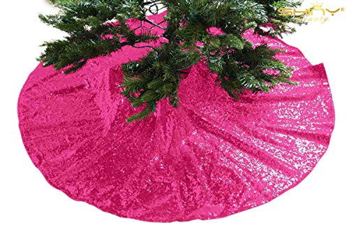 ShinyBeauty Sequin Christmas Tree Skirt 36Inch Hot Pink Tree Skirt Ornaments Decoration Tree Skirt Dress Used Party Fuchsia Tree Skirt Wholesale ~0918S -