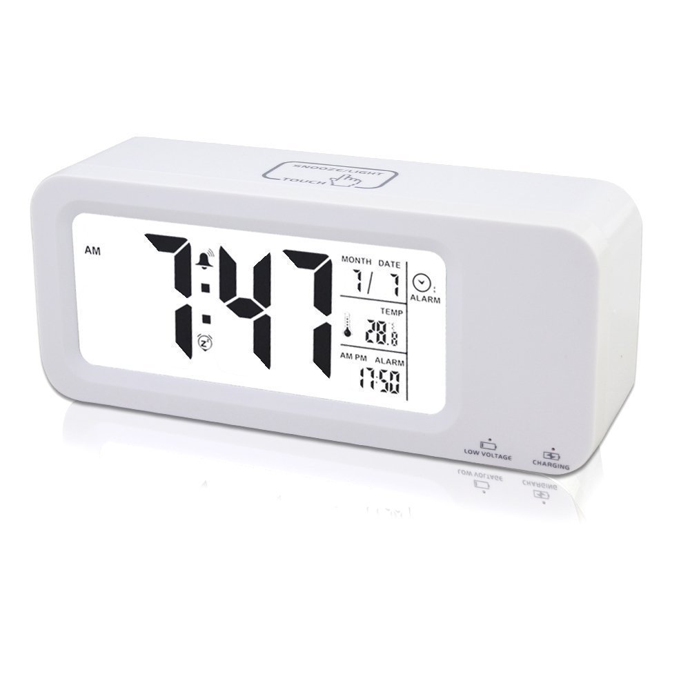 feifuns Digital Alarm Clock Rechargeable, Poratble Samshow Digital Clock with Temperature/Date/12/24h Display, Snooze/Sensor Nightlight, 2 Alarms a Week/3 Alarms a day (White) once have it fully charged works at least 2 month