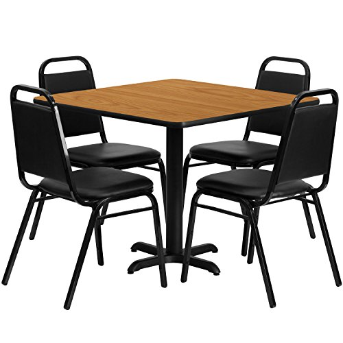 Flash Furniture 36'' Square Natural Laminate Table Set with 4 Black Trapezoidal Back Banquet - Set Pub 36'
