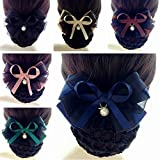6 Pcs Hair Womens Lady Lace Bow Bowknot Mesh Elastic Snood Net Bun Cover Net Professional Headdress Flower Hair Clips (Style11)