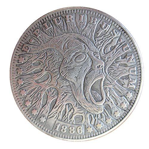 jooactsuiwoyou Hobo Coins Carved Skeleton 1886 Morgan Dollar Key ()