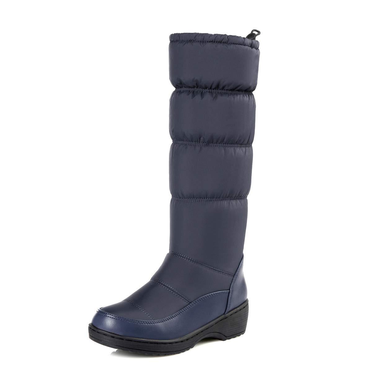 DANDANJIE Damen Schneeschuhe Kalb Biker Stiefel Stiefel Stiefel Damen Winter Warm Rutschfeste Mid-Calf Stiefel (Balck Blau Weiß),Blau,36EU  604c5f