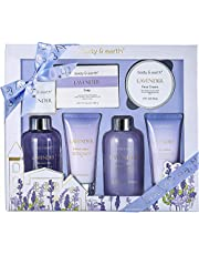 Bath and Body Gift Set - Luxurious 6 Pcs Bath Kit for Women, Body & Earth Spa Set with Lavender Scent - Bubble Bath, Shower Gel, Hand & Face Cream, Body Lotion, Soap,Gift Box for Women