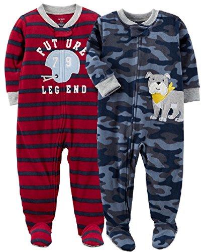 Carters Dog Blanket - Carter's Baby Boys' 2-Pack Fleece Pajamas (Helmet/Bulldog, 18 Months)