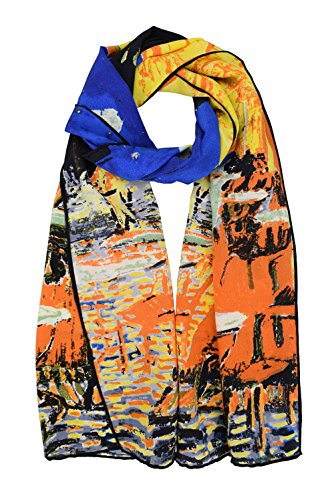 ELEGNA Women 100% Silk Art Collection Scarves (Van Gogh's Cafe Terrace at Night)