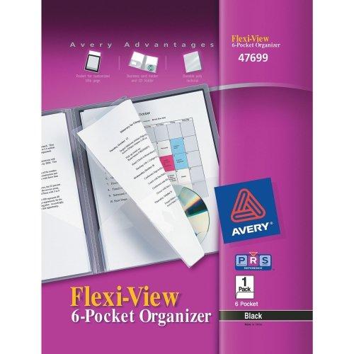 Flexi-View 6-Pocket Organizer, Assorted (Black, Navy Blue), Poly, 8-1/2'' x 11'', 24-sheet capacity, 1 Cover/EA
